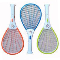 Wholesale 3 Colors LED Mosquito Insects killer Electric Fly Swatter Bug Pest Zapper Control Racket High Quality JJA12