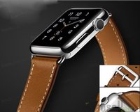 Wholesale 100 Genuine Leather Watch Band Double Tour Bracelet Strap Band For Apple Watch iWatch mm