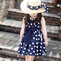 Wholesale Lovely Polka Dot Girls Dresses Kids Summer Party Wear with Fashion Bowknot Belt Princess Dresses Jumper Skirt Pleated Clothing MC0042