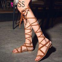Wholesale Leggings Lace Opening - 2016 Summer Classical Gladiator Sandals Lace Up Leggings Sandals European Style 3 Colors Women Sandals Zip Square Low Heels Shoe