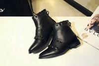 Half Boots animation shorts - high quality u682 black genuine leather flat short boots f classic brand designer luxury runway casual boyish stylish
