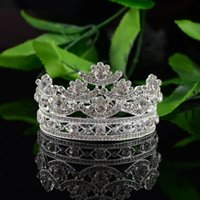 apparel crowns - HG189 high end bridal jewelry crown alloy round rhinestone wedding accessories apparel in Europe and America