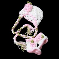 beautiful photos cute babies - Super Cute Beautiful Newborn Pink Flower Costume Handmade Knit Crochet Baby Girl White Hat and Boots Set Infant Toddler Photo Prop