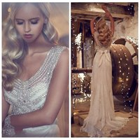 ann summers - Beautiful Ann Champbell Beautiful Beaded Crystal Lace Wedding Dresses Sweep Train Bowknot Back Bridal Gowns Custom Online Beach