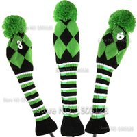 Wholesale Brand New One Set Green Color Wool Knit Golf Clubs Set headcovers Covers inclue Driver Fairway wood