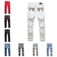 american flag designer - New Fashion hot mens designer true jeans men robbin jeans famous brand robbin jeans denim with wings american flag jeans plus size