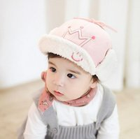 Wholesale Cute Toddler Girls Earflap Beanie New Style Boys Warm Hats Kids Trapper Hats Winter Cotton Caps colors for T baby
