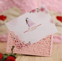 Wholesale Laser cut rose flower love heart style invitation card sleeve menu pocket cards cover Express