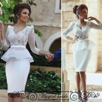 Wholesale V neck Short Wedding dresses with Long Sleeve Lace Sheath Wedding Gowns Knee Length Sexy Bride Gown