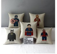 Wholesale Styles Super Hero Cotton Linen Pillowcases Car Throw Pillow case Cushion Covers Adult Soft Comfortable Pillow Cover Movie Paragraph Cushion