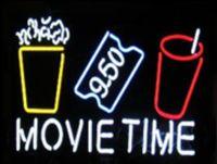 al por mayor gafas de jugar de la película-Tiempo de Película Popcorn Puffed Rice Drink Cine Ticket Letrero de neón Personalizado Hecho a mano Tubo de vidrio Cine Teatro Drama Jugar Mostrar letreros de neón 24