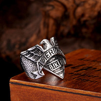 american silver eagle - 5pcs Steel Soldier American Biker Eagle Ring Stainless Steel Fashion Personality Navy Signet Men Jewelry
