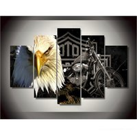 Wholesale Canvas Printings Eagles Motorcycle Painting Wall Art Home Decoration Poster Canvas Unframed