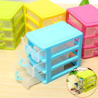 Wholesale New Arrival Desktop Plastic Storage Box with Three Drawers Jewelry Organizer Holder Cabinets Fit For Office Home
