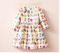 autumn leaves color - 2016 Autumn Children Long Sleeve Girls Birds Leaves Print Jacquard Dresses Princess Child Dress Clothing K7524