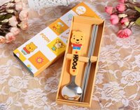 Cheap Hot !! Kawaii Pooh Dream Tableware Dinnerware Set Baby Kindergarten Lunch Set : Spoon + Chopsticks With BOX kids gift *