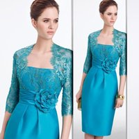 absolutely handmade - Turquoise Green Mother s Suit Dress With Lace Long Sleeves Jacket Beads Handmade Flowers Knee Length Elegant Absolutely Beautiful Gowns