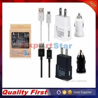 Wholesale 2 in in US EU wall charger adapter home travel adapter bullet car charger micro usb cable for Samsung Galaxy S4 S5 S6 NOTE