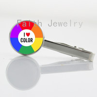 alloy wheels pictures - I love color jewelry beautiful Color Wheel art picture collar clips LGBT Gay Lesbian Pride Rainbow Color Wheel tie bar pin NS191