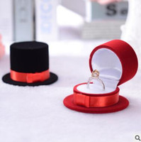 Wholesale Top Hat Shape Jewelry Box Case Black Red Ring Ear Stud Box Case Cheap cm