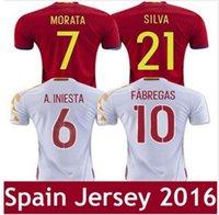 Wholesale Top Thai Qualidade Espanha futebol Jersey qualidade Thai CITP FABREGAS A INIESTA I CASILLAS Espanha camisa De Futebol camisa