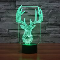 Wholesale Colorful USB Cute D Christmas Deer Bedroom Office Home Decoration Desk Table Lamp Child Night Lights Christmas Gift