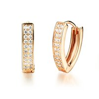 Wholesale New Fashion K Gold plated Women white Micro Inaly Zircon hoop earring charm earring fashion jewelry valentine s day gifts KE660