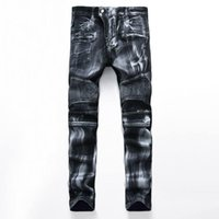 Wholesale Hip hop hole Balmain jeans for men Denim Distressed Masculina Mens Slim Long Pants Rock Ripped Biker Jeans Homme fear of god Cowboy
