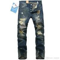Wholesale 2016 jeans for men Mens Fashion Mens Distressed Jeans Ripped Famous Brand Designer Deatroyed Jeans Printed Denim Pants Cotton Q1694