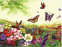 Wholesale DIY Frameless Pictures Paint By Numbers Digital Oil Painting On Canvas handwork gift set of flower and butterfly G271