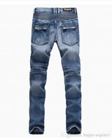 Wholesale Balmain Biker Jeans stereo clipping fold Cultivate one s morality cotton denim jeans pants man skinny jeans