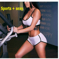 baseball worsted - Hot sale Sexy female sports suit two piece suspenders vest bra Yoga Fitness Exercise suite fashion women clothing vic0041