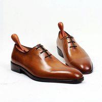 Precio de Los hombres hechos a mano de los zapatos oxford-Zapatos de vestir Hombre Zapatos Oxfords Zapatos hechos a mano por encargo Zapatos de cuero genuino del becerro Derby color Marrón HD-260