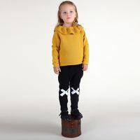 achat en gros de volants de manteau d'hiver-Livraison gratuite Mode 2015 hiver Filles Enfant Vêtements Ruffles Tricoté Pullovers + Sweater Manteaux Blouses Vêtements Outlet 80-110