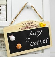 Wholesale zakka grocery wooden mobile nursery children creative mini small blackboard message board hanging blackboard message board training