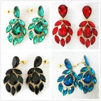Wholesale New rectangle crystal glass Oval earrings studs women girls gift newly jewelry B1068