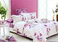 background violet - Quality cotton Queen bed in a bag sets violet red flower white background floral pattern Printed duvet quilt covers pc bedlinen