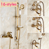 best shower walls - Best Quality Wall Mount Bath and Shower Faucet Set Antique Brass Bathtub Faucet with Handshower