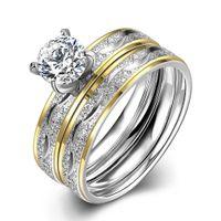 allergy titanium - 316L Titanium Steel Ring Stainless Steel Couple Rings Zircon Ring Sets Non Fading Anti Allergy Wedding Rings Gemstone Jewelry for Men Women