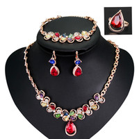 Wholesale Weeding jewellry sets colourful jewelry birthday gift Bracelet ring earrings necklace noble crystal diamond decoration for wedding CA250