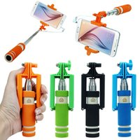 Wholesale MINI Portable wired Selfie Stick Monopod With Cable for apple iphone Samsung S5 S6 smartphone