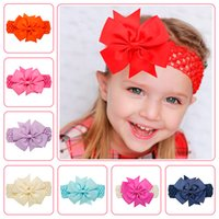 Wholesale Baby Girls Colorful Bowknot Elastic Wide Headbands Solid Ribbed Bow Girls Headwears Children Fashion Hair Accessories Colors DH16058