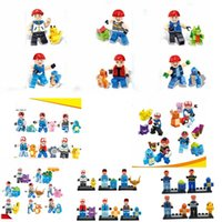 Wholesale DIY Poke Go Minifigures Building Blocks Styles Ash Ketchum Squirtle Pikachu Bulbasaur Anime Assemble Model Educational Toy Kids Gift