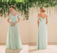 Cheap 2016 Sage Lime Green Off Shoulders Chiffon Bridesmaid Dresses Spaghetti Ruched Long Courty Style Cheap Boho Maid of the Honor Party Dresses