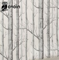 Wholesale Forest Wall Mural Birch Tree pattern woods wallpaper roll modern simple wallpaper design black white wall paper for living room