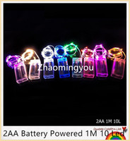 Wholesale Curtain Lights 1m Drop - 2AA Battery Powered 1M 10 Led Silver Color Copper Wire Mini Fairy String Light Lamp For Christmas Holiday Wedding Party 8 Colors