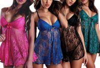 Wholesale Sexy Lingerie Women s Babydoll Sleepwear Lace Dress Nightwear G string Underwear E791