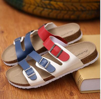 Wholesale 2016 New Birkenstock Casual buckle Shoes slippers cork sandals slides for women s men s sandals Zapatos mujer femininos hombre