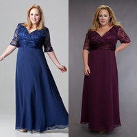 Wholesale Plus Size Mother of The Bride Dresses Purple Gray Blue With Half Sleeves Ankle Length Lace Chiffon Formal Evening Gowns For Mother Bride