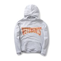 Wholesale FW new Vetements Gray Hoodie letters logo oversize couples sweatshirt men and women High Quality